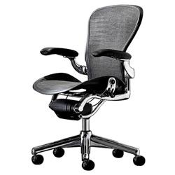 HermanMiller(ハーマンミラー)「Aeron Chair(アーロンチェア)」ポリッシュアルミベース/フル装備/Bサイズ/タキシード