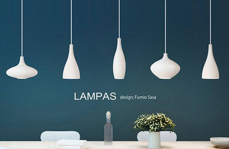 YAMAGIWAペンダント照明LAMPASランパス_モダンな白いガラスシェード
