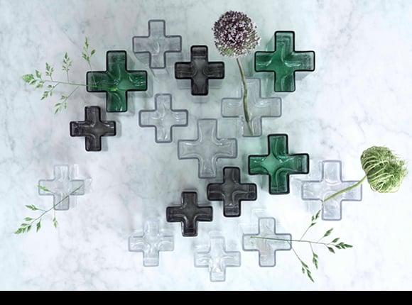 HOLMEGAARD(ホルムガード)「Crosses Vase(クロスベース)」グリーン19.5cm_9964343836